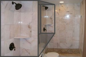 Example of a tub converted to a walk-in shower